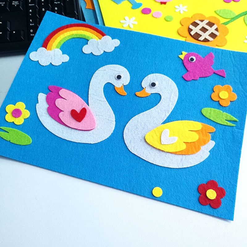 1 Set Children Toys Cartoon Non-Woven Felt Collage Cute Decoration Stickers Educational Gifts Swan Frog Duck DIY Sticker Toys
