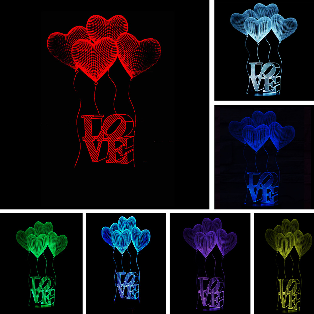 Wholesale Romantic Love Heart Balloon 3D LED USB Lamp Marriage Proposal Wedding Home Decoration Colorful Night Light Gift Gadget 3d led lamp usb night love heart