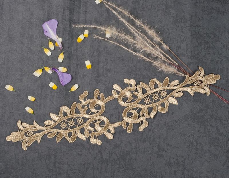Impartial 1pc 38.5x9.6cm Gold Lace Applique Headwear Flower Lady Motif Venise Lace Trim Wedding Dress Garment Accessories Crazy Price Home & Garden