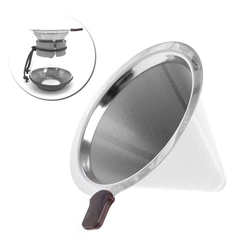 Портативный металлический фильтр для кофе из нержавеющей стали Воронка/v-тип фильтры для чашки принадлежность для чая