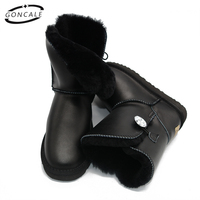 Top Quality New Fashion 100 Genuine Cowhide Leather Snow Boots Real Fur Classic Mujer Botas Waterproof