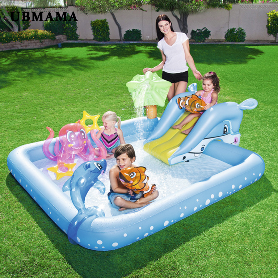 US $56.3 6% OFF|Children playing pool baby inflatable square swimming pool  thickening plastic garden pool Indoor outdoor pool inflatable toys-in ...