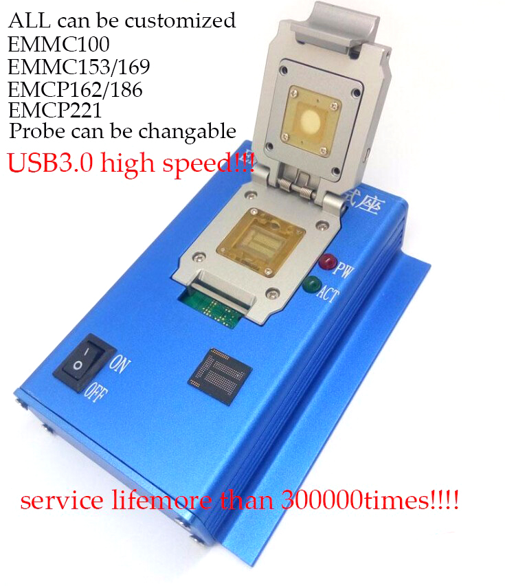 EMMC EMCP Customized EMMC100 EMMC153 169 EMCP162 186 EMCP221 Socket Series USB3.0 Reader Alloy Durable Shell Probe Touch Pin