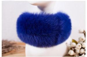 SCM043 шарф из лисьего меха шарфы-повязки на шею теплая накидка шаль-пончо снуд много цветов 57*12 см - Цвет: blue