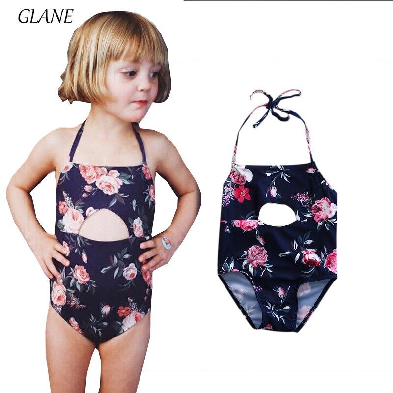 24c03b9448 New Kid Baby Girls Floral Hollow Out Bikini Girl One Piece Swimsuit Swimwear  Hole Halter Baby Bathing Swimming Suit bikini 2017