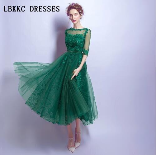 Abiye Gece Elbisesi vert robes de soirée demi manches genou longueur Tulle avec dentelle Abendkleider courte fête robe de bal