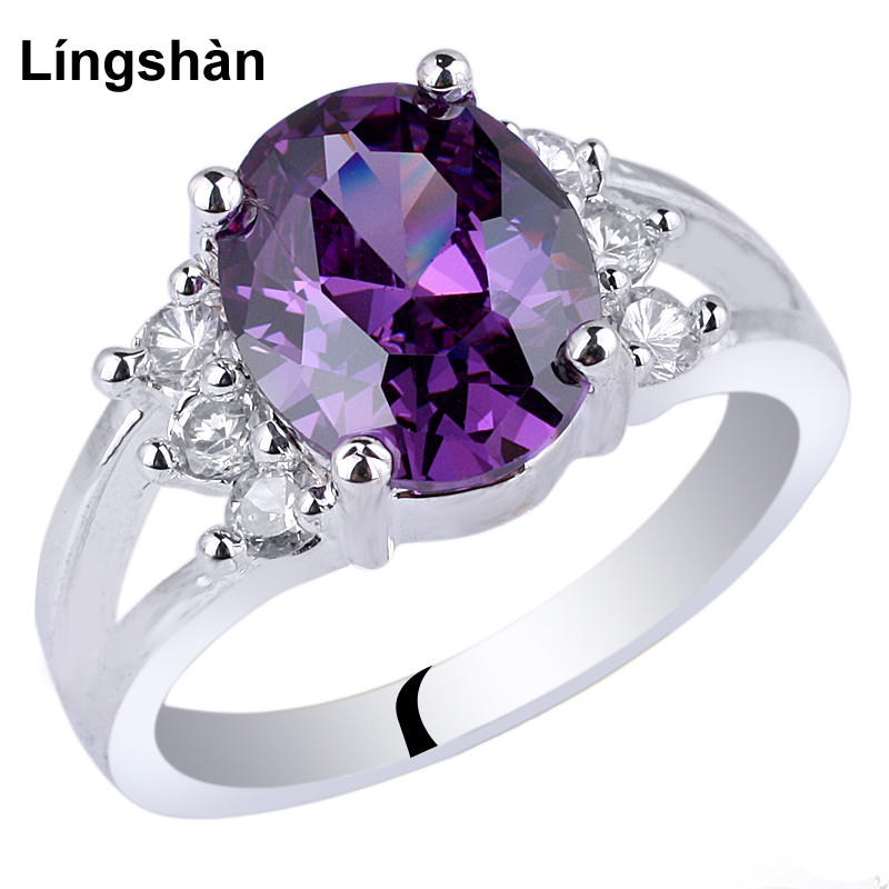 Women Real 925 Silver Ring Sterling Jewelry 8x10mm Oval Cubic Zirconia CZ Classic Lady Finger Decoration R042
