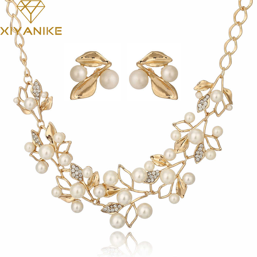 Fashion Pearl Necklace Gold Chain Jewelry Sets Choker Necklace Wedding Necklaces and Earrings for Women N265