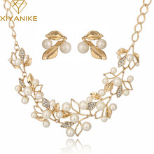 Fashion Pearl Necklace Gold Chain Jewelry Sets Choker Necklace Wedding Necklaces and Earrings for Women N265(China)