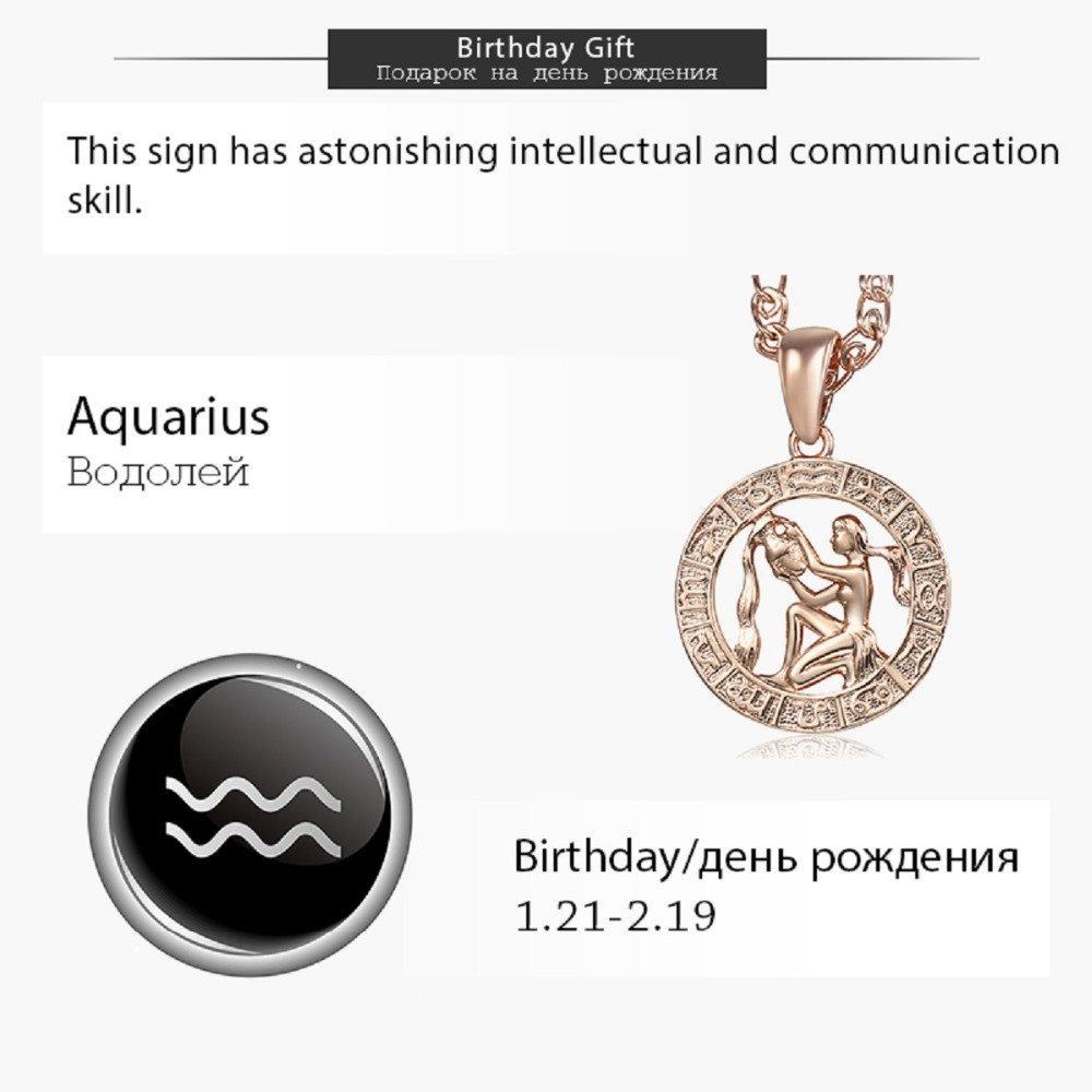 Aquarius Zodiac Sign Necklace For Women Men 585 Rose Gold Pendant Necklace  Fashion Jewelry Hot Personal Birthday Gifts GP287