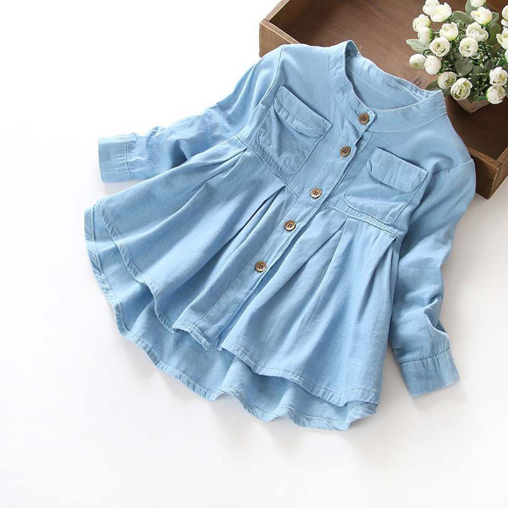 Girls Clothing Dress T-Shirt Blouse Long-Sleeve Children Denim O-Neck Ruched Solid Tops