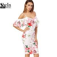 SheIn Summer Women Dress Korean Fashion Clothing White Rose Print Cold Shoulder Short Sleeve Ruffle Knee