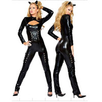 Adult Women Black Leather Catsuit Sexy Night Club Vinyl Jumpsuit Sexy Catwoman Bodysuit Leather Catsuit W6003