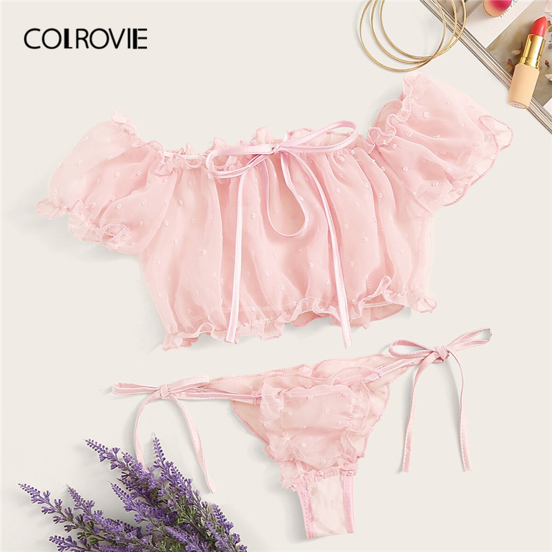 COLROVIE Pink Lettuce Trim Dobby Mesh Tie Side Sexy Lingerie   Set   Women Intimates 2019 Frill   Bra   And Thongs Ladies Underwear   Set
