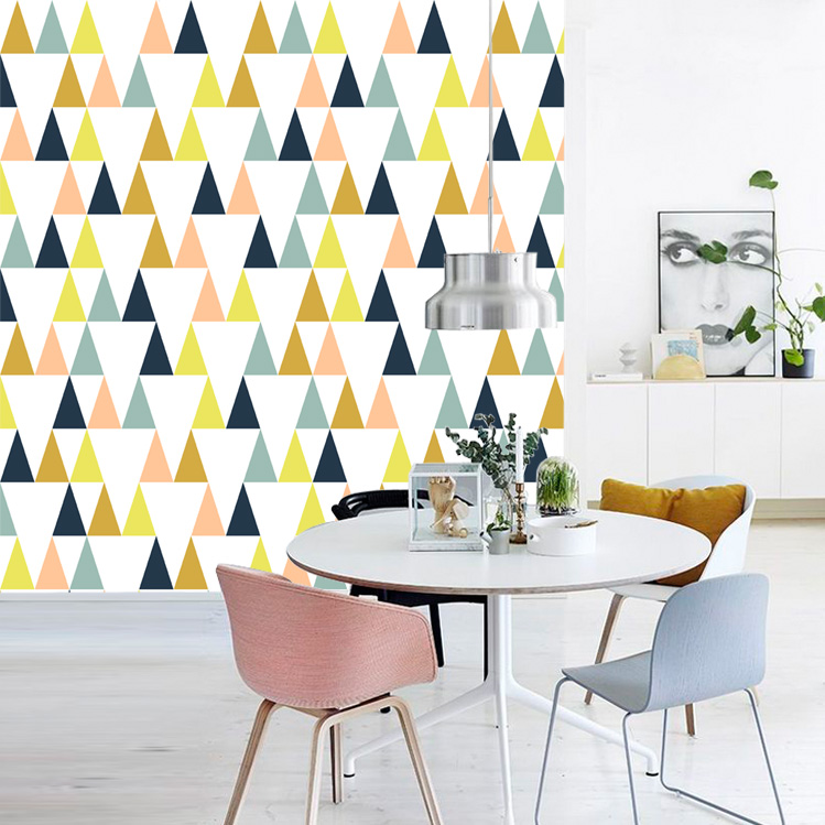 moderne simple triangle forme g om trique papier peint mural pour tude salon bureau atelier mur. Black Bedroom Furniture Sets. Home Design Ideas