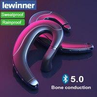 Lewinner Bluetooth V5.0 костной проводимости наушники с скрытый микрофон Беспроводной гарнитура для iPhone Android