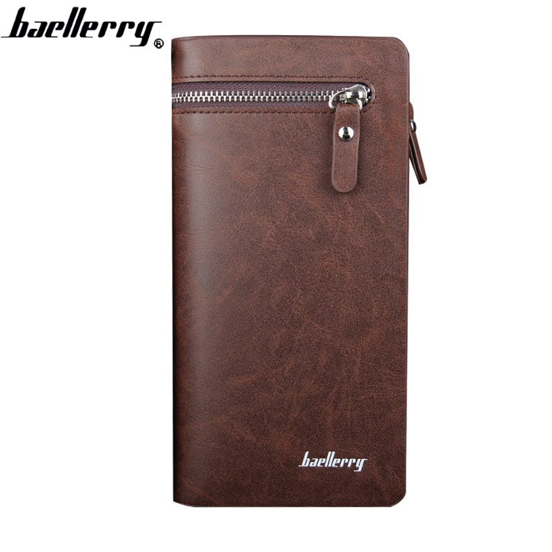 Baellerry Men Wallets PU Leather Zipper Phone Pocket Wallet Card Holder England Style Male Wallet Black Top Quality Men Wallet