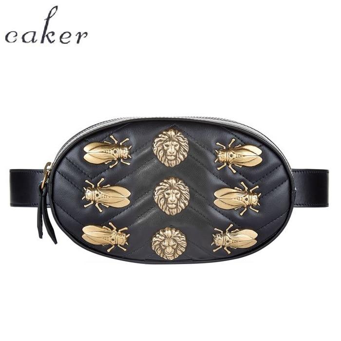 Caker Brand Women Sequins Bee Butterfly Waist Bag With Belt Lady Embroidery V diamond lattice Heart