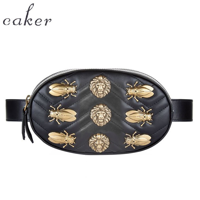 Caker Women Sequins Bee Butterfly Fanny Waist Bag With Belt Rivet Embroidery V diamond lattice Heart-shape Circle Shoulder Bag