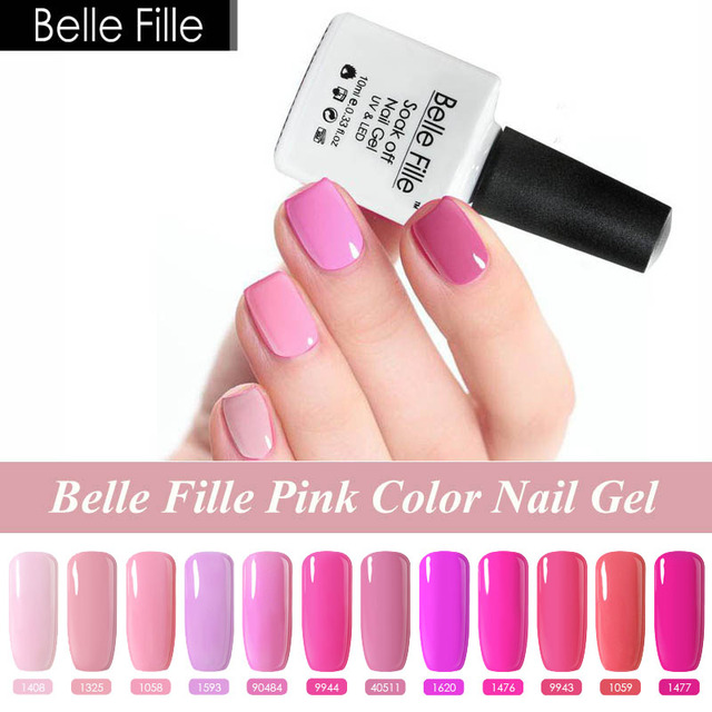 Belle Fille 10ml Pink Gel Nail Polish Vernis Semi Permanent UV Gel ...