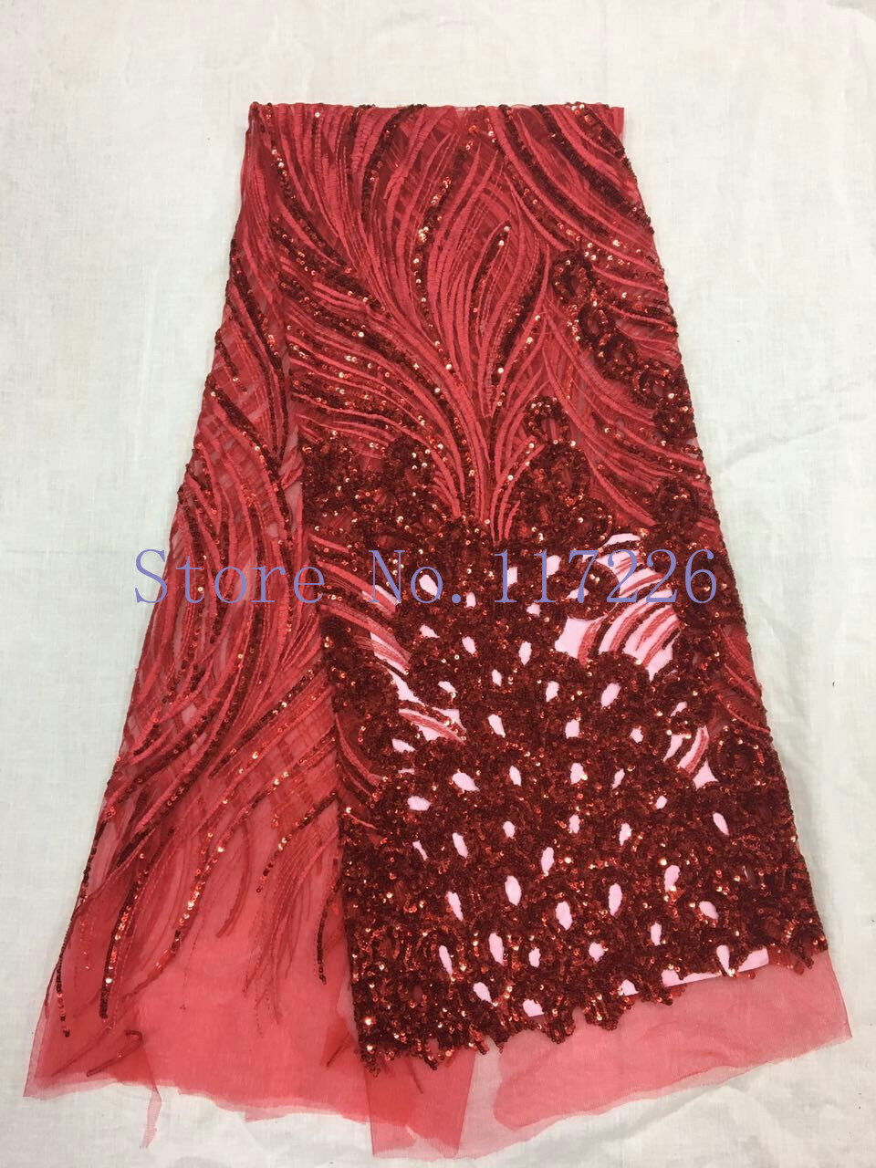 Buy red sequined fabric net and get free shipping on AliExpress.com