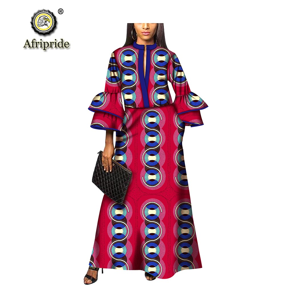 2019 여성을위한 아프리카 드레스 afripride dashiki bazin riche ankara 프린트 캐주얼 드레스 봄 & 가을 퓨어 코튼 드레스 s1825069-에서드레스부터 여성 의류 의  그룹 1