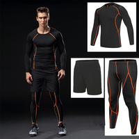 Men sports compression running sets gym Fitness clothing sportswear boy gym basketball training sets tight Tracksuits 3pcs kits