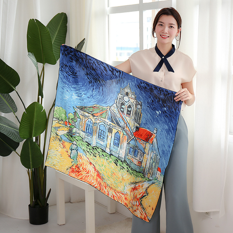 Leayh 90*90cm Fashion 100% Silk Square Scarf High-end Art Oil Painting Printed Real Scarves Women Shawls Bandana For Gift