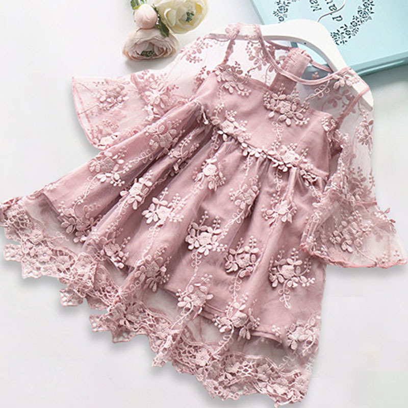 New 2018 Summer Girls Dresses Children Clothes Girl Princess Dress Lace Flowers Horn Sleeves Embroidery Design Girls Dress pink lace up design cold shoulder long sleeves hoodie dress