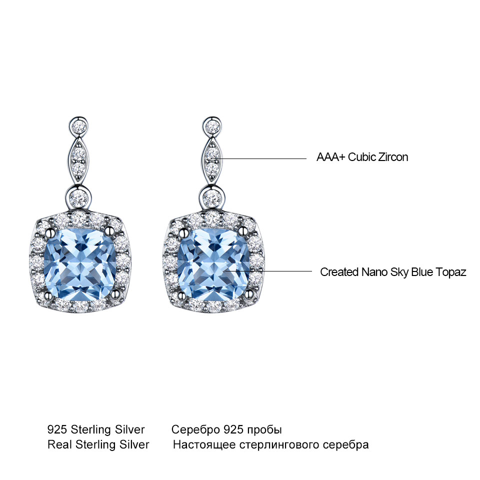 UMCHO Solid 925 Sterling Silver Drop Earrings For Women Sky Blue Topaz Gemstone Fine Jewelry Christmas Party Gift Fine Jewelry