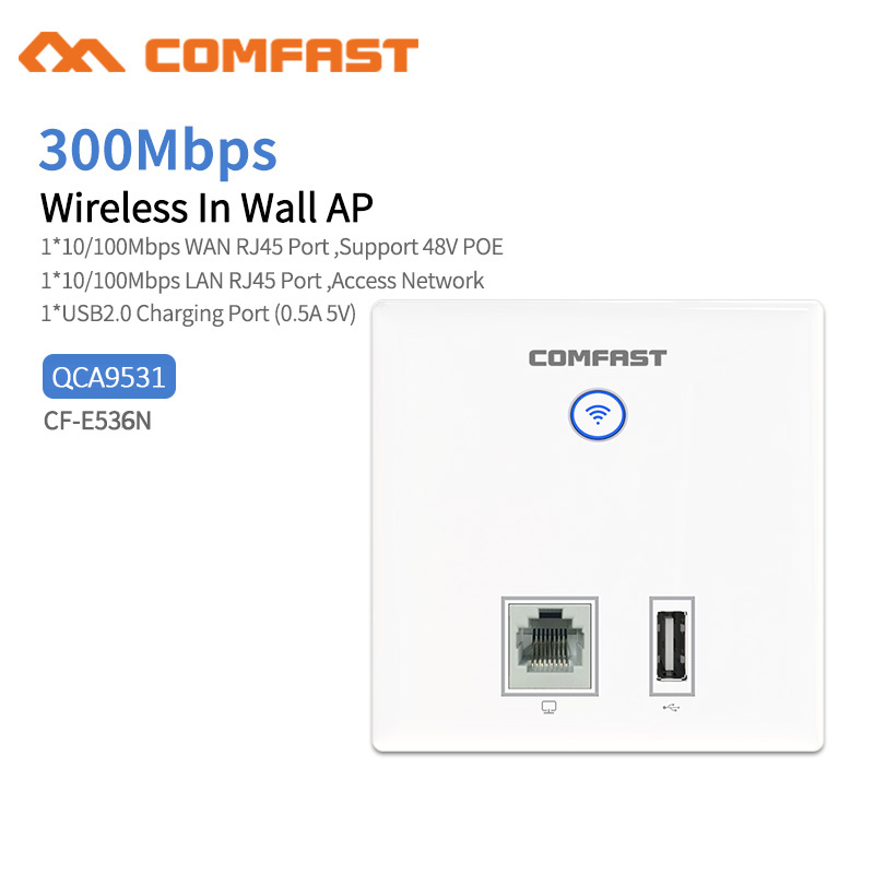 Comfast CF-E536N Wireless Access Point,300Mbps Indoor Wall WiFi AP,  RJ45+ USB Client Wall AP, IEEE 802.11n/g/b PoE,PPTP, L2TP