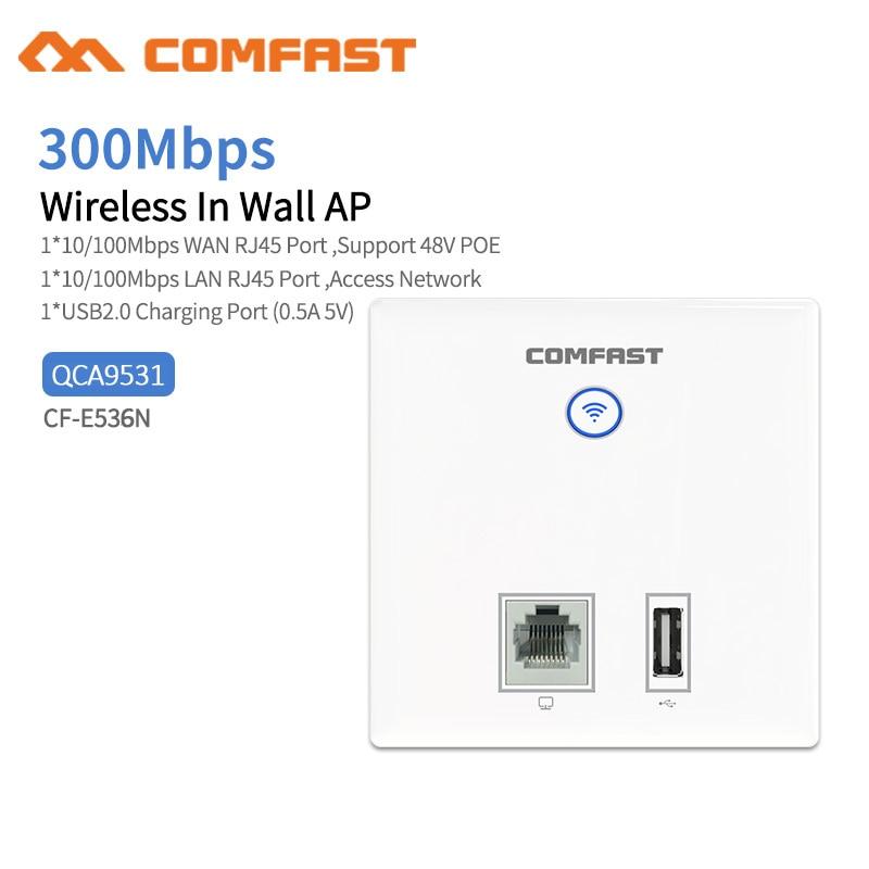 Comfast CF-E536N Wireless Access Point,300Mbps Indoor Wall WiFi AP,  RJ45+ USB Client Wall AP, IEEE 802.11n/g/b PoE,PPTP, L2TP
