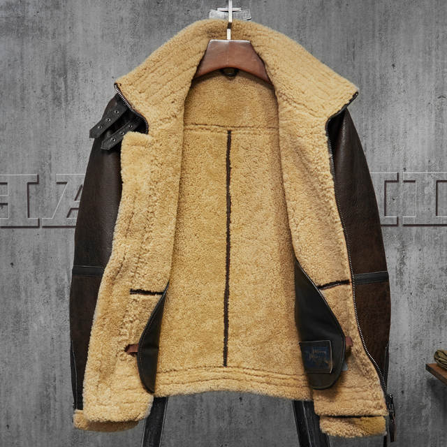 72b28677c9d placeholder Men s Shearling Jacket Turmeric Wool B3 Flight Jacket Short Fur  Leather Jacket Australia Wool Mans Sheepskin
