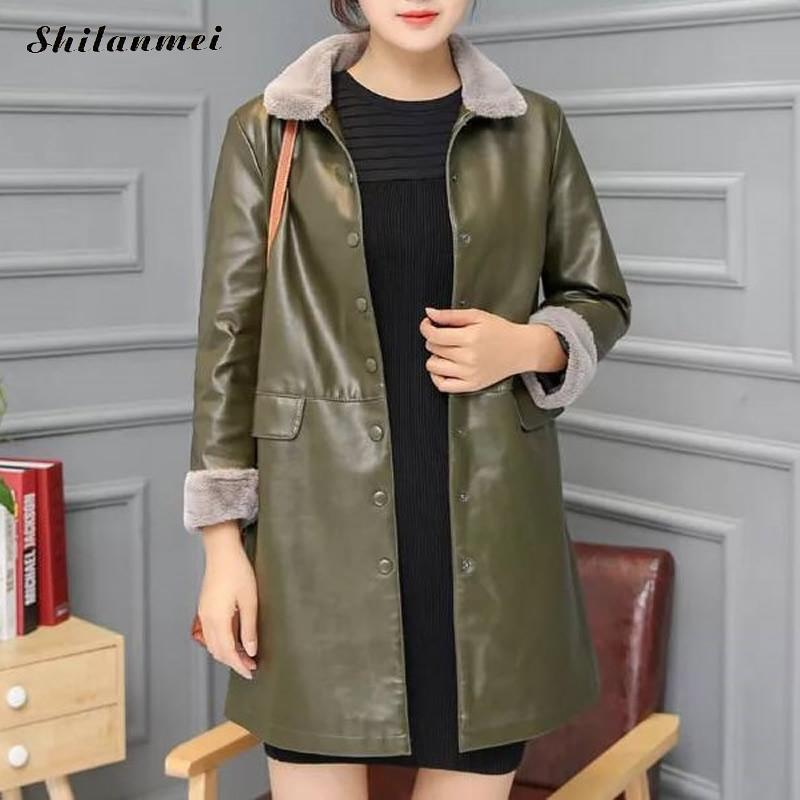 Plus Size Pu   Leather   Autumn Overcoat Fur Collar 4xl 5xl Elegatn Female Long Overcoat Black Jackets And Coats Fashion Streetwear