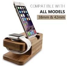 Top New Bamboo Wood Charger Station for Apple Watch Charging Dock Phone Stand Holder for iPhone 5s 6 7 8 X Stand Cradle Holder