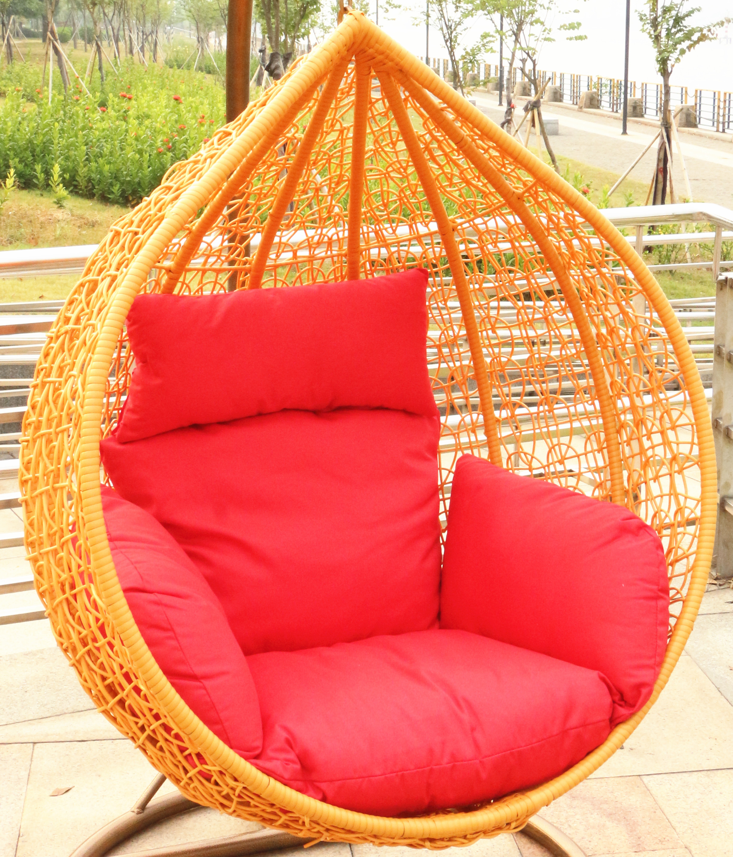Rattan basket hanging chairs wrought iron indoor and outdoor