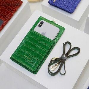 Image 2 - Horologi moda funda billetera telefónica teléfonos móviles ranuras para tarjetas de crédito con cordón de cuero de vaca con patrón de cocodrilo nombre personalizado