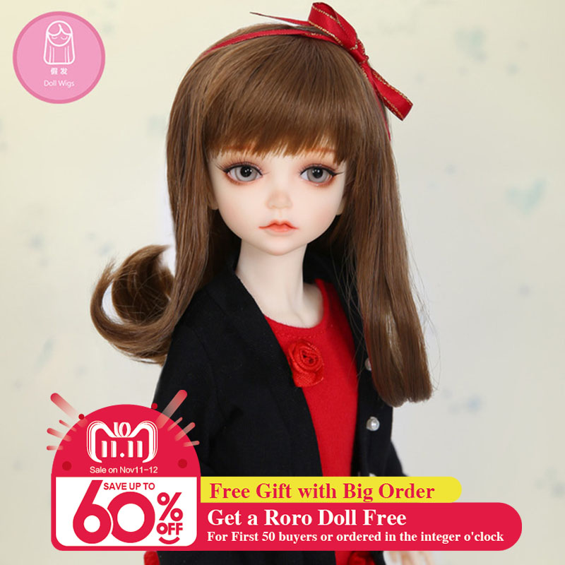 Wig For BJD Doll L6# free shipping size 16-17cm 1/6Curly Wig Bangs Heat Resistant Synthetic long hair bjd doll Wigs in beauty vogue long silky straight side bang charming heat resistant synthetic capless wig for women
