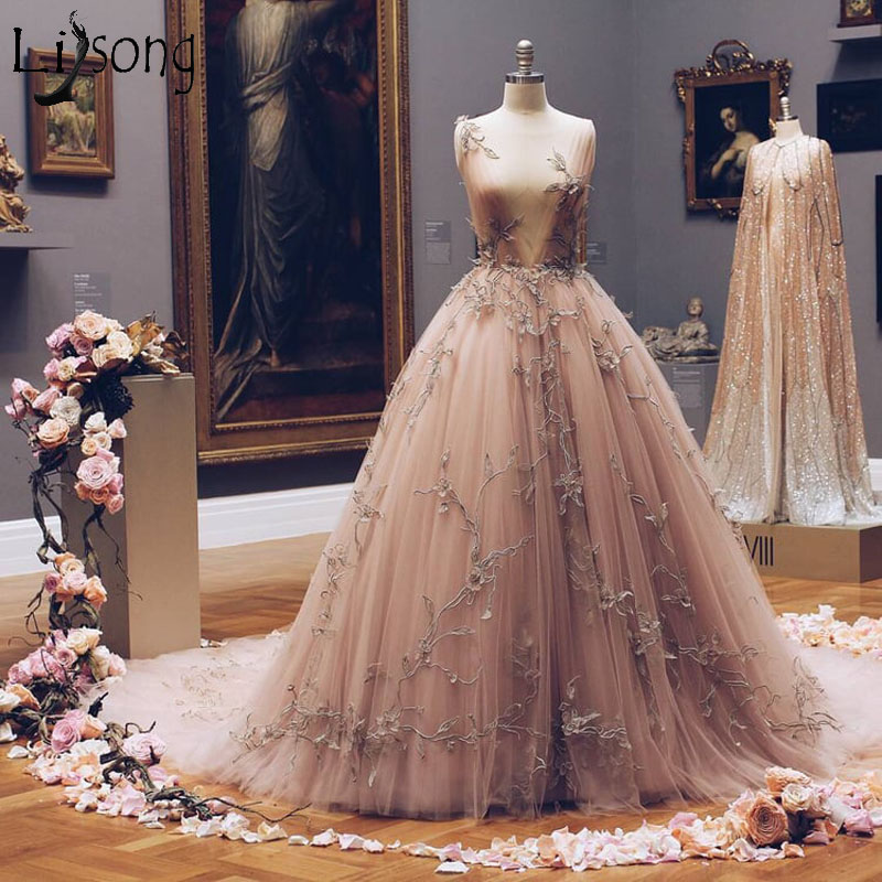 Fairy Champagne Tulle Long   Prom     Dresses   2019 Illusion Sleeveless Unique Appliques Evening   Dress   Haute Couture Formal Party Wear
