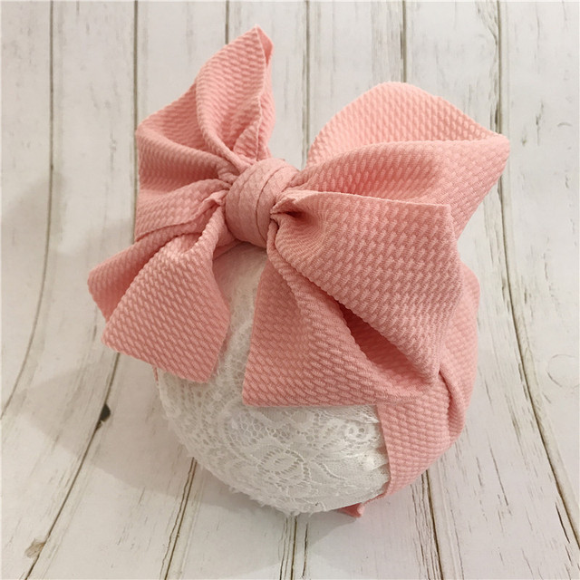 7'' Big Bows Texture Top Knot For Girls Chic Kids Winter Solid Wide Headband Hair Bow 2019 New DIY Hair Accessories Head wrap