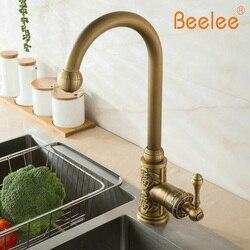 Beelee Küche Waschbecken Mixer Wasserhahn 360 Grad Swivel Einzigen Griff Ein Loch Deck Montiert Wasserhahn, Messing Antik