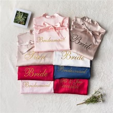1pcs lot embroidery logo satin robes hen bachelorette party personalized wedding bride maid of honor bridesmaid gift