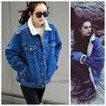 2016 de inverno mulheres Outono casaco denim jeans senhoras cordeiro jaqueta de algodão outwear engrossar quente plus size mulheres jeans casacos