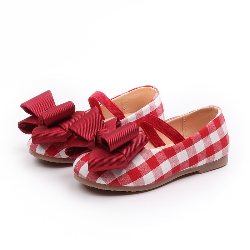 JGVIKOTO Girls Shoes Princess Sweet Soft Kids Shoes Grid With Big Bow Checkered With Elastic Band Red Black For Toddlers 21-30JGVIKOTO Girls Shoes Princess Sweet Soft Kids Shoes Grid With Big Bow Checkered With Elastic Band Red Black For Toddlers 21-30