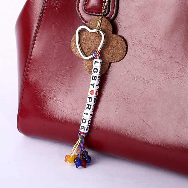 Spersonalizowane kości brelok moda Handmade splot tęczowe koraliki serce breloczek LGBT biżuteria akcesoria kochanka Llaveros prezenty