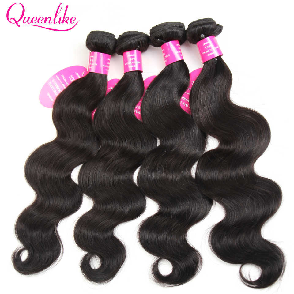 Queenlike Products 4 Pieces/lot Remy Brazilian Hair Weave Bundles 100% Human Hair Weft Natural Color Brazilian Body Wave Bundles