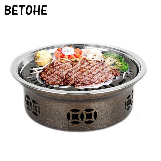 Betohe Round Smokeless Grill Indoor Commercial Home Charcoal Stainless Steel Barbecue Outdoor Portable