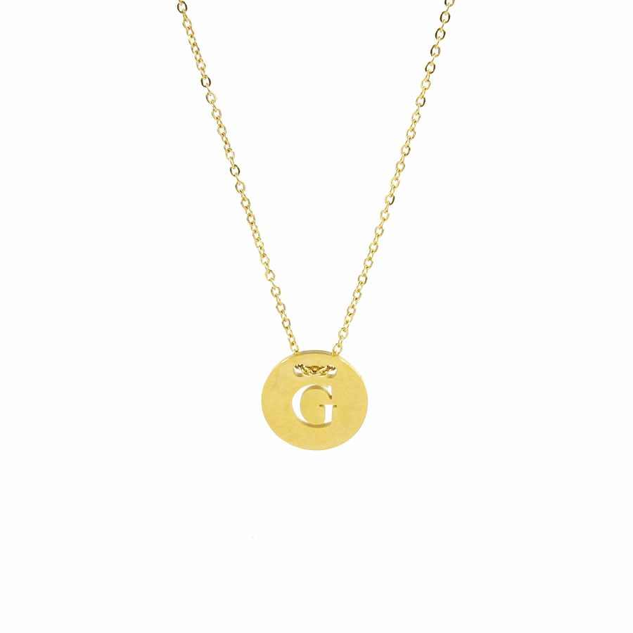 Fashion Letter Round Pendant Necklace Stainless Steel Custom Name Choker Necklace Gold Silver Chain Necklaces For Women Gifts