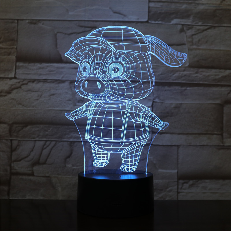 Night Light LED Cute Pig Cartoon Decoration Color Changing Touch Sensor Children Kids Gadget Gift Pig Table Lamp Bedroom Lampara in LED Night Lights from Lights Lighting