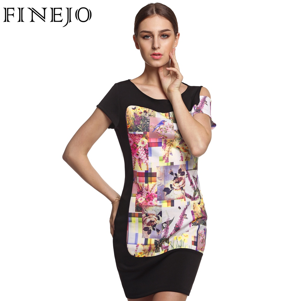 Buy Cheap FINEJO 3D Print Flora 3XL Plus Size Women Dress Fashion Patchwork Pencil Dresses Sexy Summer Short Sleeve Off Shoulder Vestidos